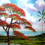 """Blooming Royal Poinciana Painting"" by mazz"