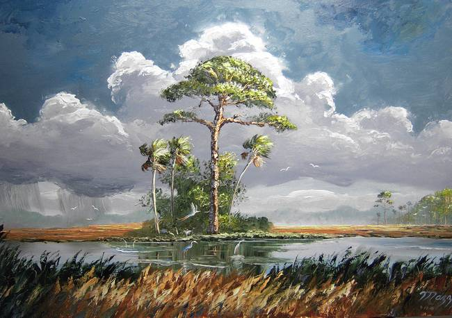 Slash Pine Tree with Wind and Rain by Mazz Original Paintings