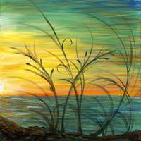 Sunset and Grasses in Blue