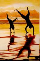 Silhouette beach shadows at sunset Handstand buddi