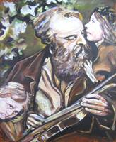 Violinist with Children
