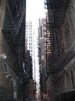 alley of fire escapes