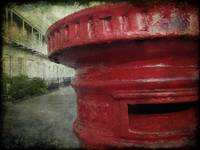 Old red post box