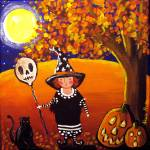 """Little Witch With Skull Balloon"" by reniebritenbucher"