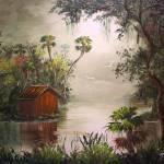 """Cabin along the Misty River"" by mazz"