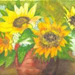 """Sunflowers in Vase"" by ClaraM"