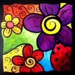 """Whimsical Flower Cluster"" by funkybrush"