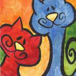 """""""Two Peas in a Pod - Whimsical Kitty Cats"""" by funkybrush"""