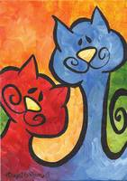 Two Peas in a Pod - Whimsical Kitty Cats