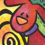 """""""Whimsical Puppy Dog with a Swirl"""" by funkybrush"""