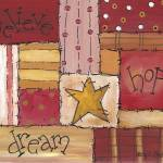 """Primitive Folk Art Quilt - believe, hope, dream"" by funkybrush"