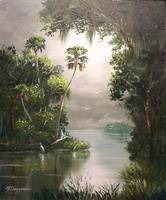 Misty Southern River Oil Painting