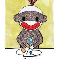 Sock Monkey Bath Room Reminder - Wash Your Hands Art Prints & Posters by Connie Girga