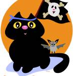 """Halloween Cat with Pirate Skull Flag and Bat"" by theblueplanet"