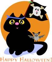 Halloween Cat with Pirate Skull Flag and Bat