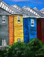 beach houses tropical acrylic painting