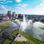 """Dayton Riverscape Fountain Skyline"" by perfectperspectivesaerial"