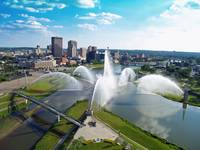 Dayton Riverscape Fountain Skyline
