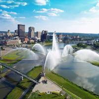 Dayton Riverscape Fountain Skyline Art Prints & Posters by Leisa Adkins