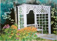Arbor/Bench with Flowers