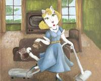 Cat Art 1950 House Wife