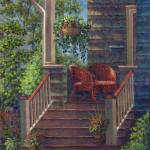 """Porch with Red Wicker Chairs"" by susansartgallery"