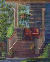 Porch with Red Wicker Chairs