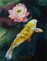 Koi and Lotus Flower
