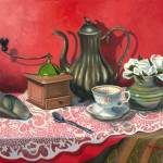 """STILL LIFE WITH COFFEE GRINDER"" by madelinesstudio"