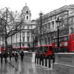 """Red buses in London"" by scrapbooktraveler"