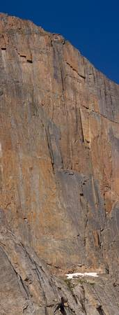 Climbers on Longs Peak Diamond