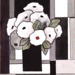 """Black and White Grafic Funny Flower 1"" by CarrieLeeAllbritton"