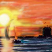 Lorain Lighthouse Sunset Art Prints & Posters by N. Cooke