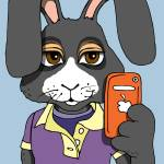 """Bunny with orange iphone"" by Gilmore"