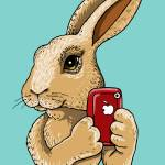 """Bunny with red iphone"" by Gilmore"