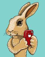 Bunny with red iphone