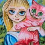 """ALICE IN WONDERLAND ALICE WITH THE CHESHIRE CAT"" by GORDONBRUCEART"