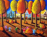 Kids Playing Raking Leaves Fun Folk Art