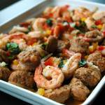 """Italian styled Garlic Prawns with Spicy Sausages"" by kaishin"
