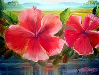 Hibiscus Flower Oil Painting