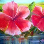 """Blooming Hibiscus Oil Painting"" by mazz"