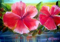 Blooming Hibiscus Oil Painting