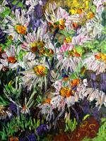 Marguerite Flowers Impast Oil Painting by Ginette