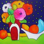 """Red Vase with Blue Pear"" by CarrieLeeAllbritton"