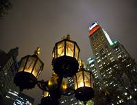 NYC Lamp and Night-time Sky