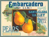 Embarcadero Pears Fruit Crate Label