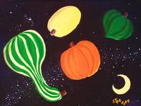 Fall Squash Flying through Space