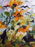 Sunflowers & Ravens Oil Painting by Ginette