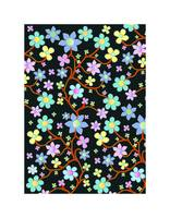 Bling Florals 11 (black, blue flowers)