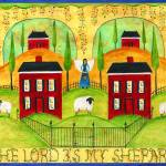 """The Lord is my Shepard Sampler Folk Art"" by Folkart"